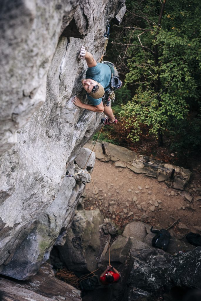 Cameron Cassan on The Toothpick (5.11) at Sunset Rock. Chattanooga, TN