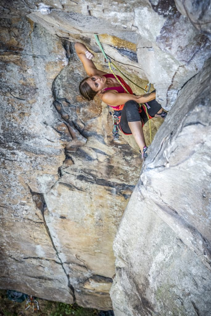 Marisa Purney on Broken Arrow (5.10-) at Sunset Rock