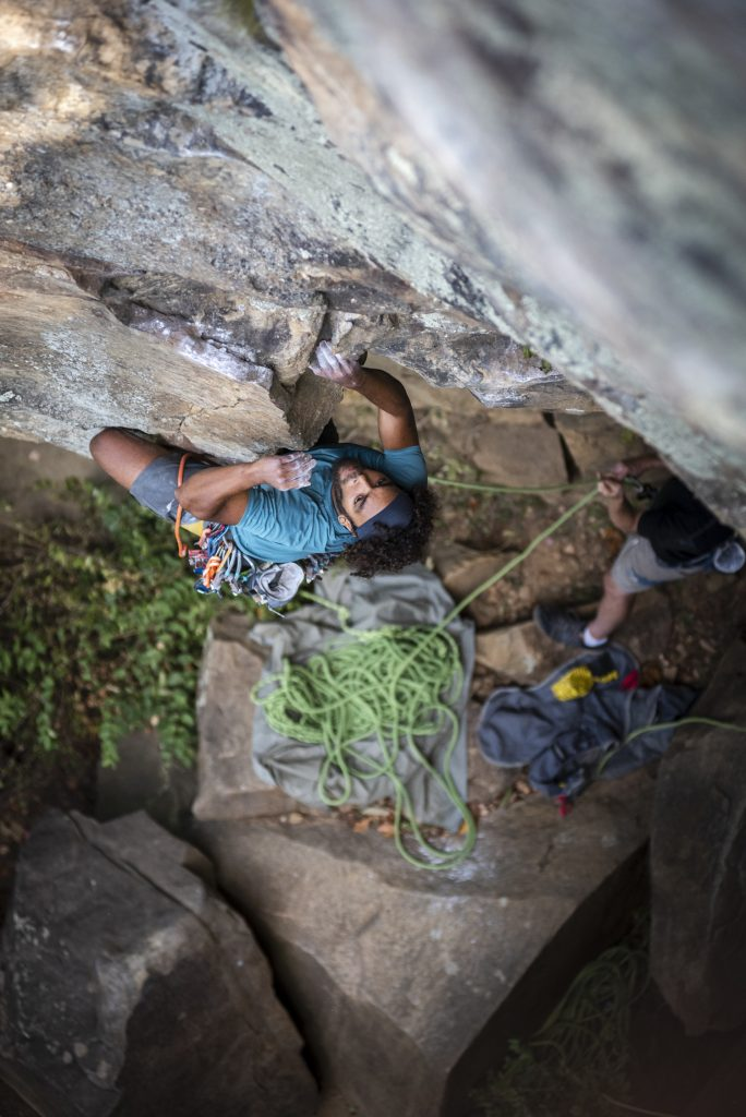 Xzavier Thompson on Flagstone (5.11) at Sunset Rock